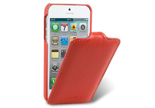 Red Leather iPhone 5 Flip Case