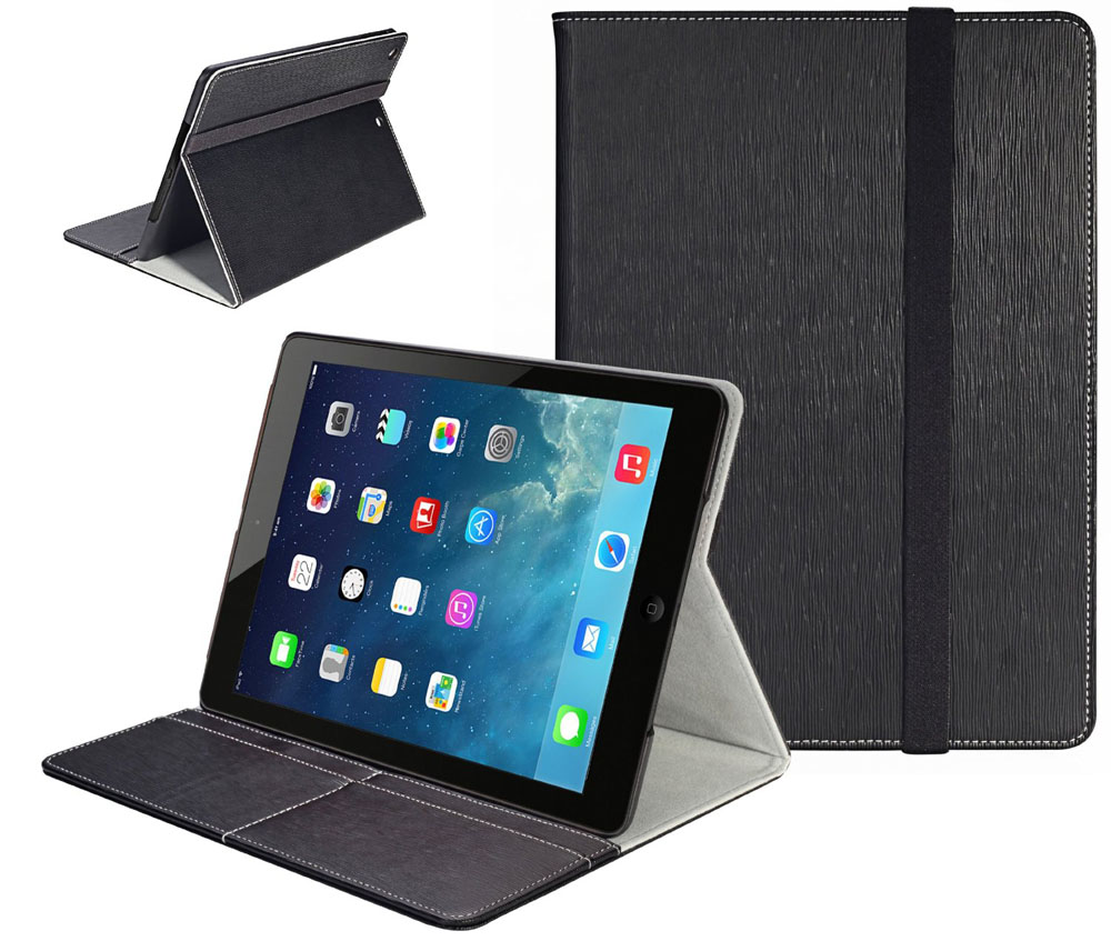 Black Leather iPad Air Case with Stand