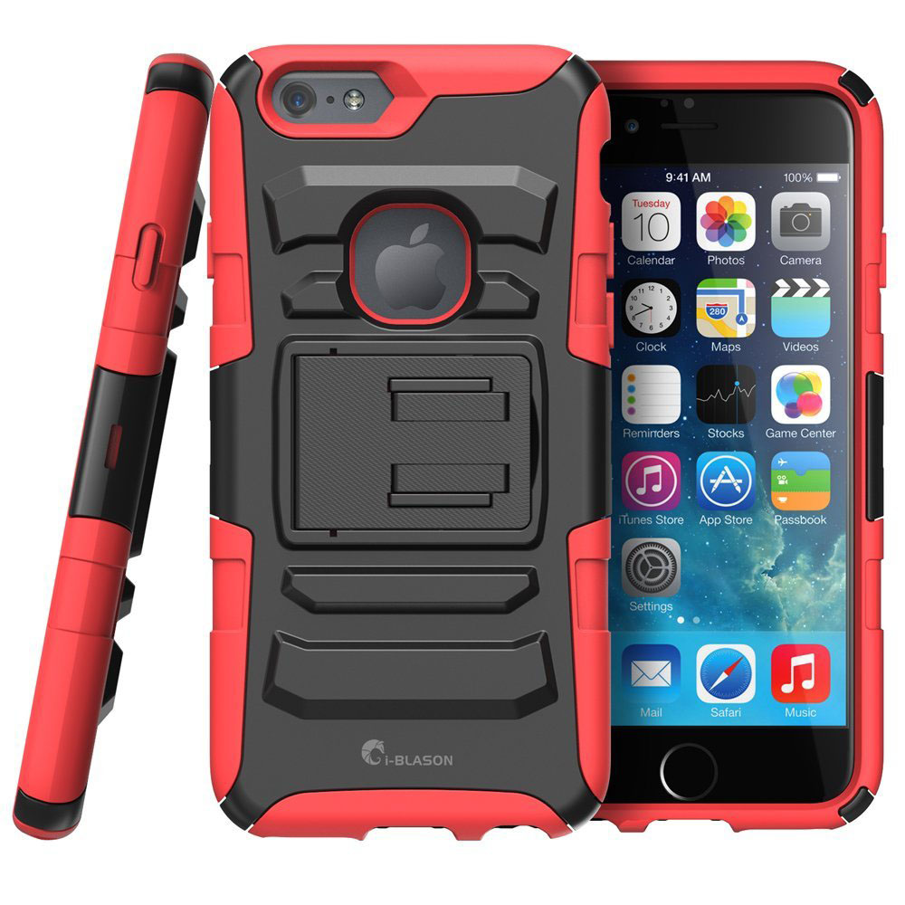 Red Rugged iPhone 6s Plus Case with Stand